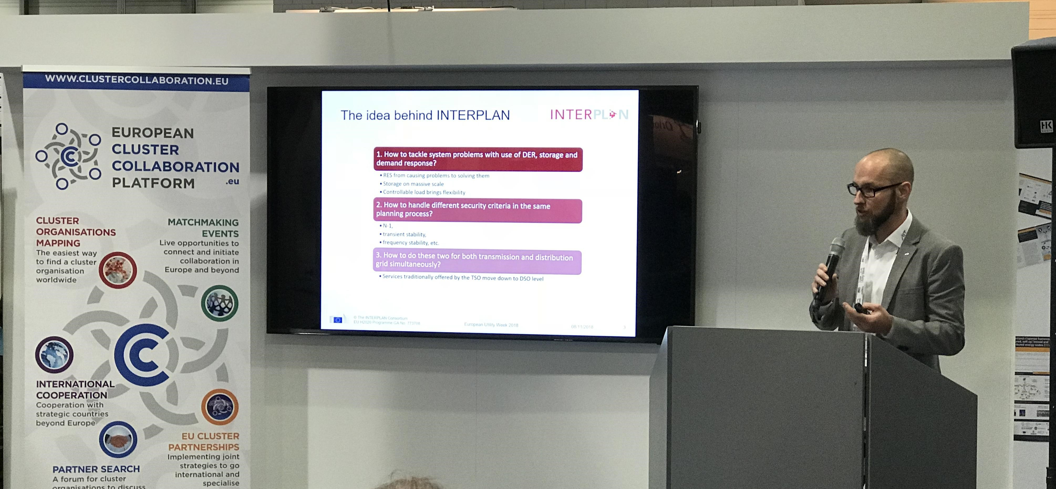 INTERPLAN project at the hub session in the European project zone at European Utility Week 2018